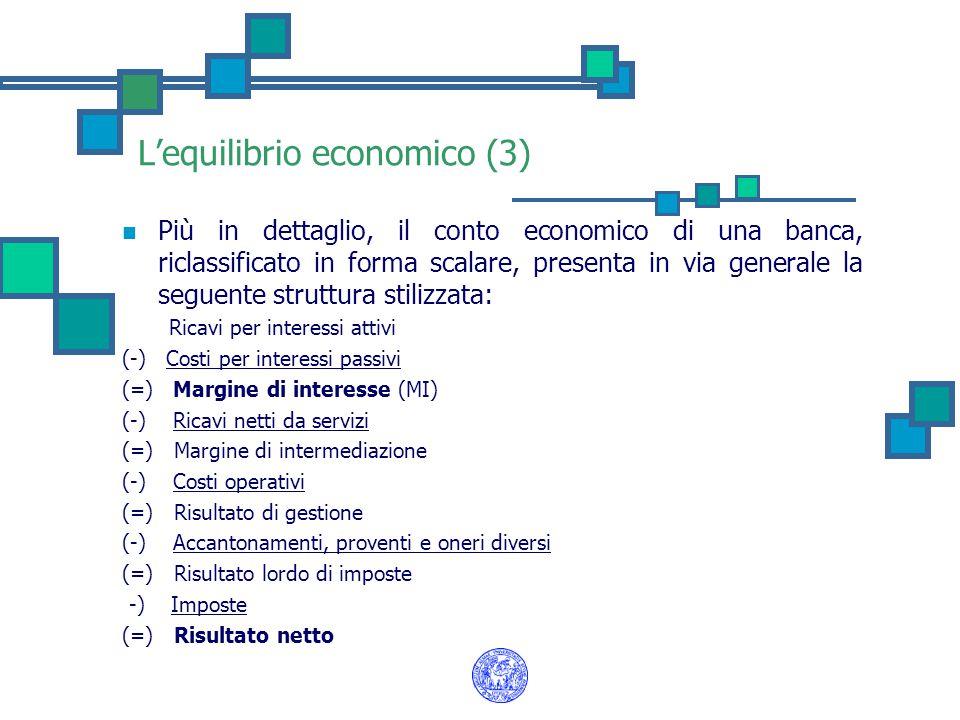 L'equilibrio economico (3) Più in dettaglio, il conto economico di una banca, riclassificato in forma scalare, presenta in via generale la seguente st