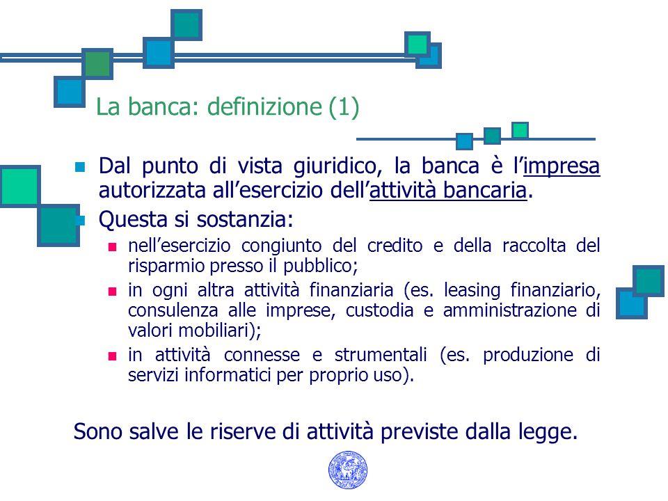 La banca: definizione (1) Dal punto di vista giuridico, la banca è l'impresa autorizzata all'esercizio dell'attività bancaria. Questa si sostanzia: ne