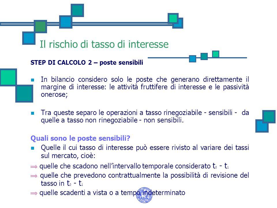 Il rischio di tasso di interesse STEP DI CALCOLO 2 – poste sensibili In bilancio considero solo le poste che generano direttamente il margine di inter