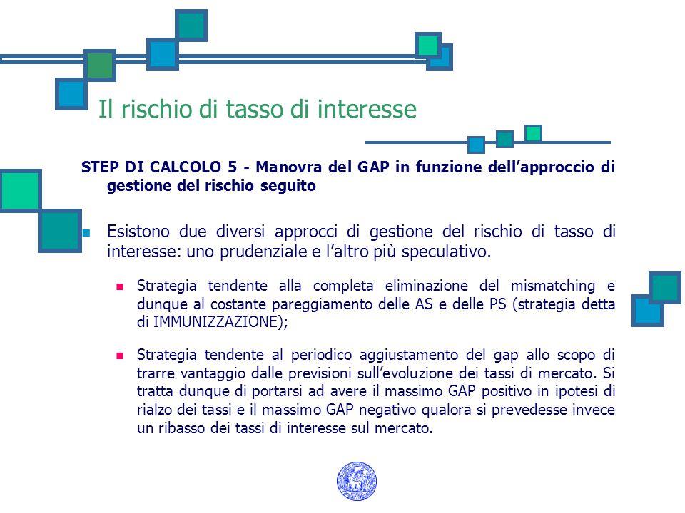 Il rischio di tasso di interesse STEP DI CALCOLO 5 - Manovra del GAP in funzione dell'approccio di gestione del rischio seguito Esistono due diversi a