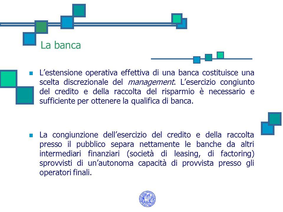La banca L'estensione operativa effettiva di una banca costituisce una scelta discrezionale del management. L'esercizio congiunto del credito e della