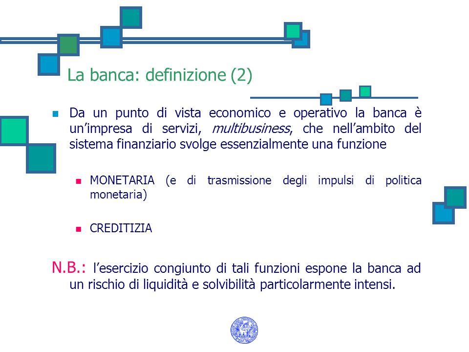 La banca: definizione (2) Da un punto di vista economico e operativo la banca è un'impresa di servizi, multibusiness, che nell'ambito del sistema fina