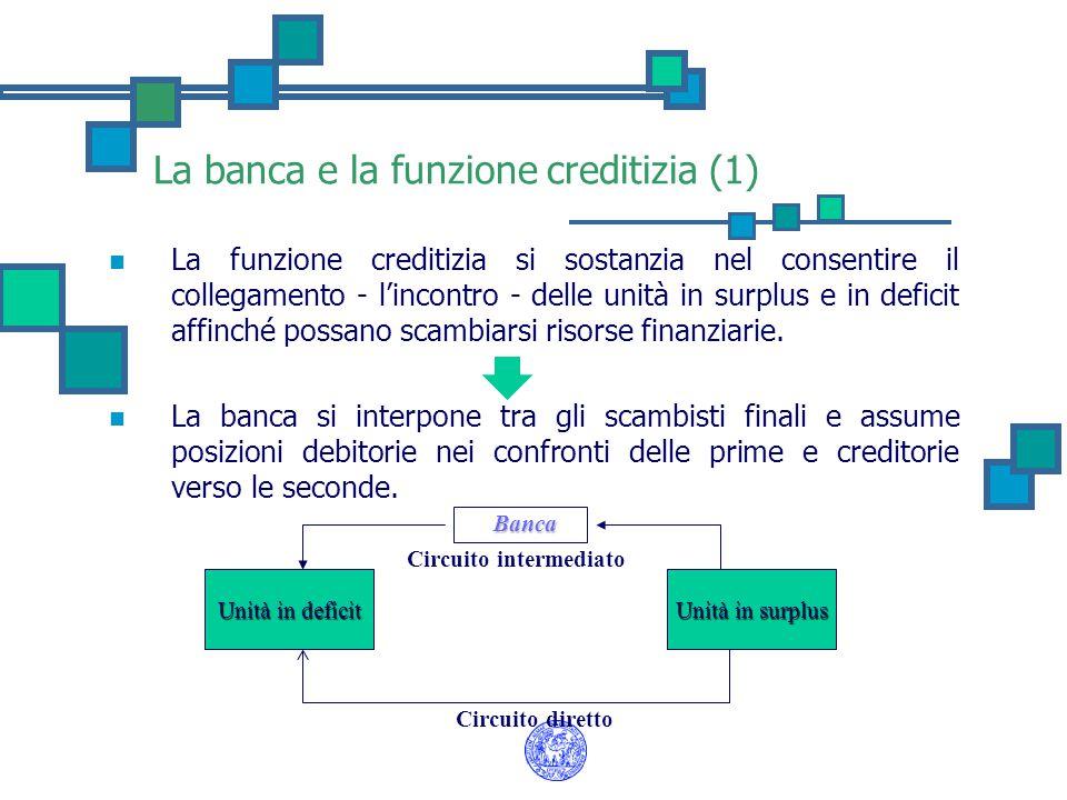 La banca e la funzione creditizia (1) La funzione creditizia si sostanzia nel consentire il collegamento - l'incontro - delle unità in surplus e in de