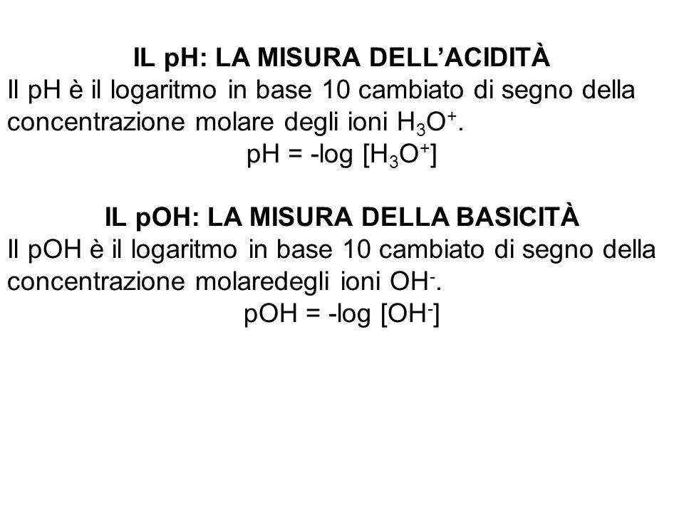 IL pH: LA MISURA DELL'ACIDITÀ Il pH è il logaritmo in base 10 cambiato di segno della concentrazione molare degli ioni H 3 O +. pH = -log [H 3 O + ] I