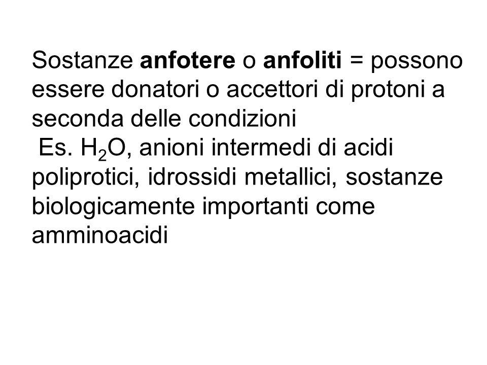 Sostanze anfotere o anfoliti = possono essere donatori o accettori di protoni a seconda delle condizioni Es. H 2 O, anioni intermedi di acidi poliprot
