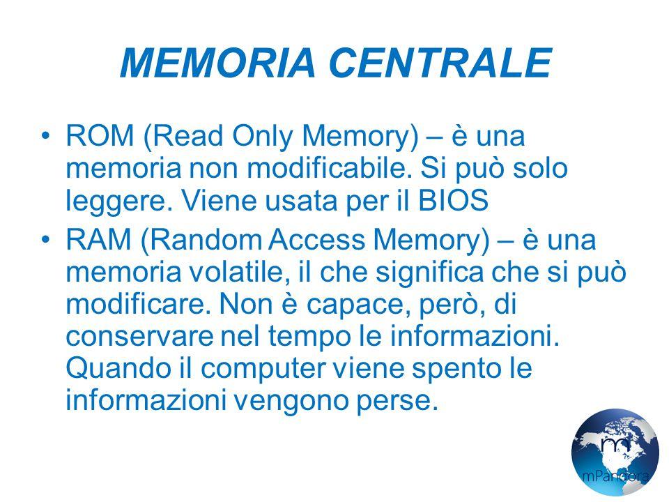 MEMORIA CENTRALE ROM (Read Only Memory) – è una memoria non modificabile.
