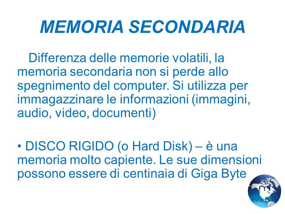 MEMORIA SECONDARIA A Differenza delle memorie volatili, la memoria secondaria non si perde allo spegnimento del computer.