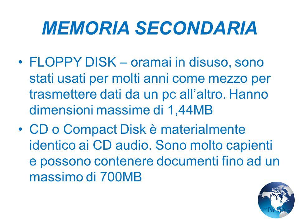 MEMORIA SECONDARIA FLOPPY DISK – oramai in disuso, sono stati usati per molti anni come mezzo per trasmettere dati da un pc all'altro.