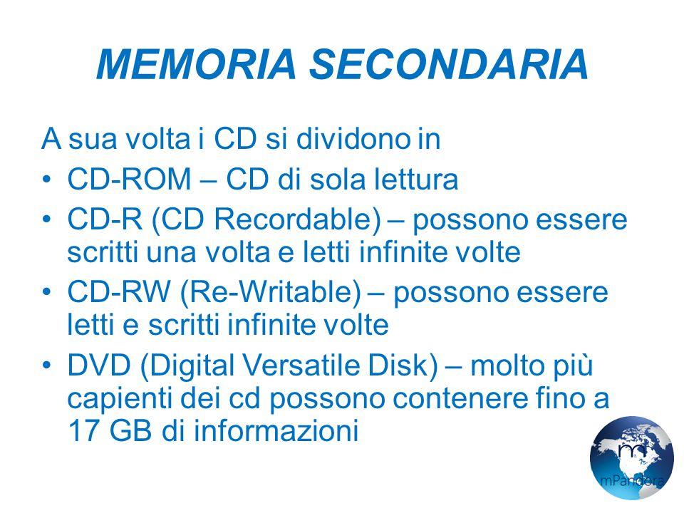 MEMORIA SECONDARIA A sua volta i CD si dividono in CD-ROM – CD di sola lettura CD-R (CD Recordable) – possono essere scritti una volta e letti infinite volte CD-RW (Re-Writable) – possono essere letti e scritti infinite volte DVD (Digital Versatile Disk) – molto più capienti dei cd possono contenere fino a 17 GB di informazioni