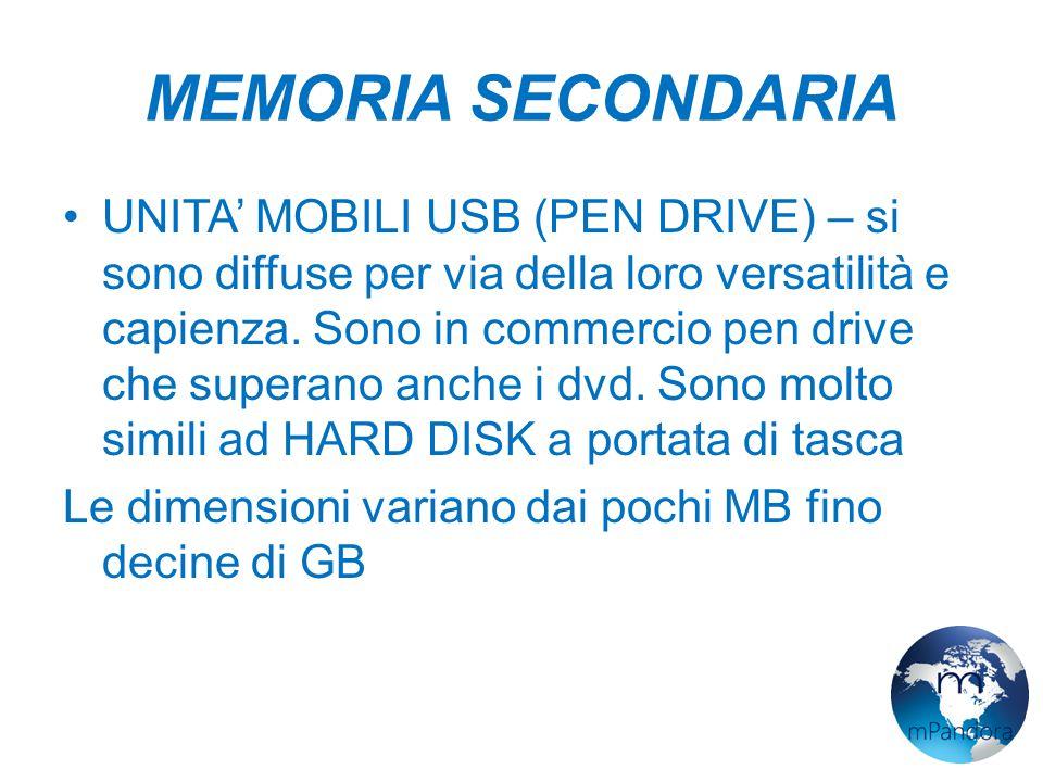 MEMORIA SECONDARIA UNITA' MOBILI USB (PEN DRIVE) – si sono diffuse per via della loro versatilità e capienza.