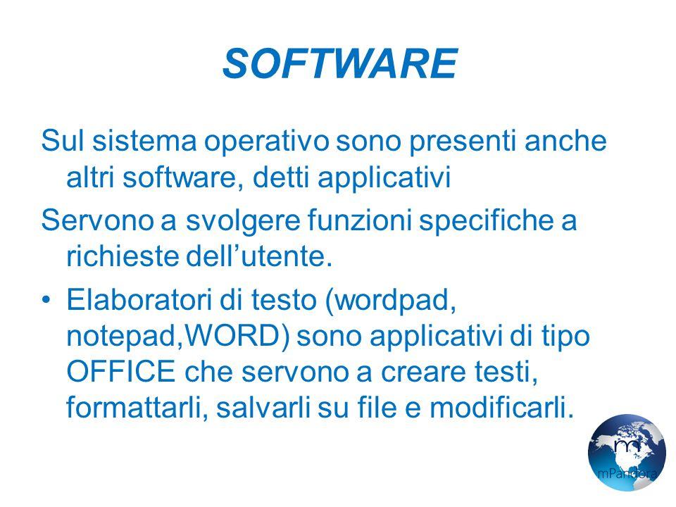 SOFTWARE Sul sistema operativo sono presenti anche altri software, detti applicativi Servono a svolgere funzioni specifiche a richieste dell'utente.
