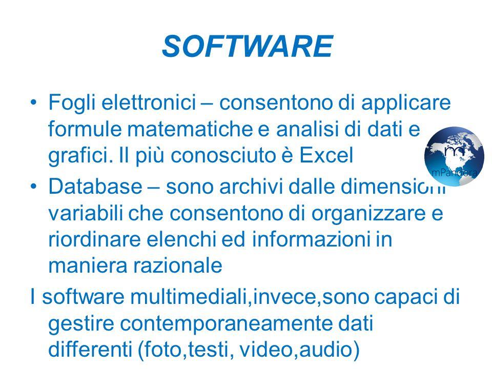 SOFTWARE Fogli elettronici – consentono di applicare formule matematiche e analisi di dati e grafici.