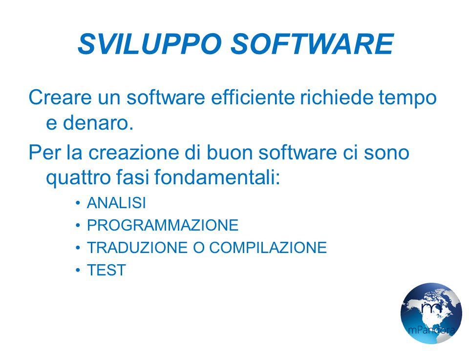 SVILUPPO SOFTWARE Creare un software efficiente richiede tempo e denaro.