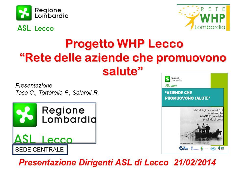"""Progetto WHP Lecco """"Rete delle aziende che promuovono salute"""" Progetto WHP Lecco """"Rete delle aziende che promuovono salute"""" Presentazione Dirigenti AS"""