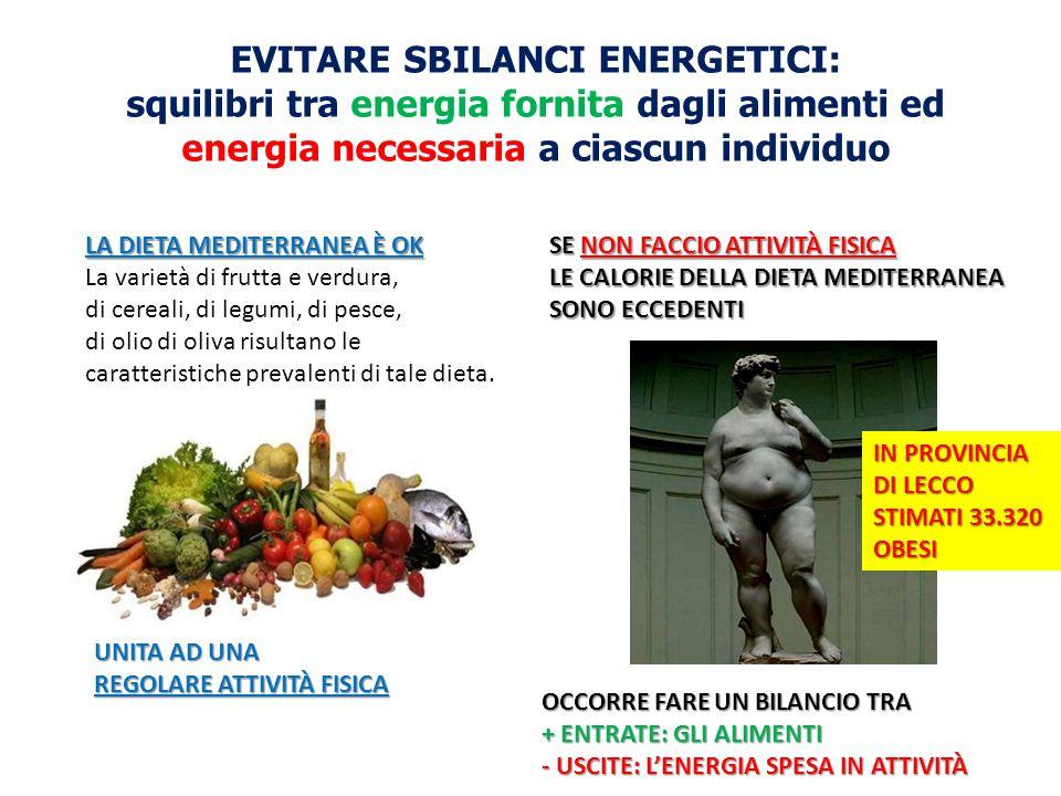 EVITARE SBILANCI ENERGETICI: squilibri tra energia fornita dagli alimenti ed energia necessaria a ciascun individuo LA DIETA MEDITERRANEA È OK La vari