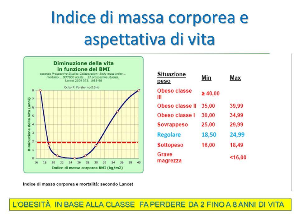 Indice di massa corporea e aspettativa di vita L'OBESITÀ IN BASE ALLA CLASSE FA PERDERE DA 2 FINO A 8 ANNI DI VITA
