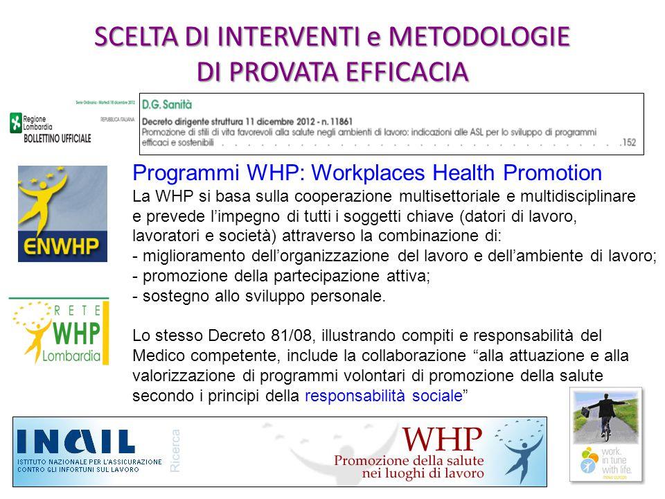 SCELTA DI INTERVENTI e METODOLOGIE DI PROVATA EFFICACIA Programmi WHP: Workplaces Health Promotion La WHP si basa sulla cooperazione multisettoriale e