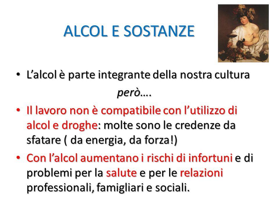 ALCOL E SOSTANZE ALCOL E SOSTANZE L'alcol è parte integrante della nostra cultura L'alcol è parte integrante della nostra cultura però…. però…. Il lav