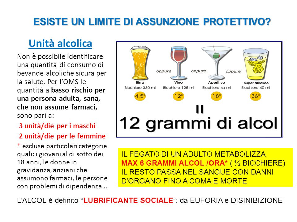 Unità alcolica Non è possibile identificare una quantità di consumo di bevande alcoliche sicura per la salute. Per l'OMS le quantità a basso rischio p