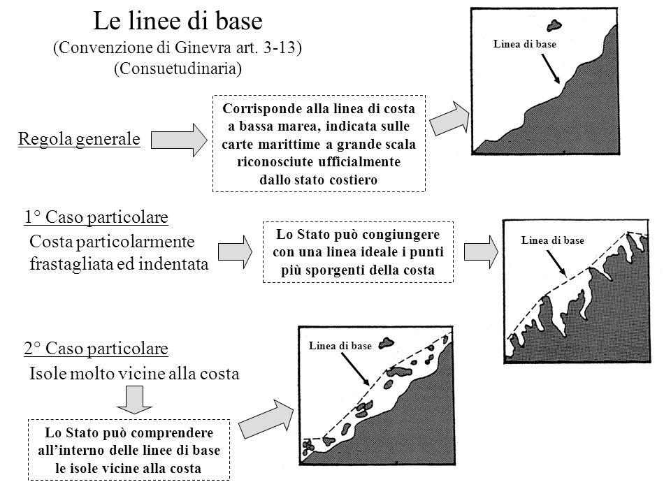 Le linee di base (Convenzione di Ginevra art. 3-13) (Consuetudinaria) Regola generale Corrisponde alla linea di costa a bassa marea, indicata sulle ca