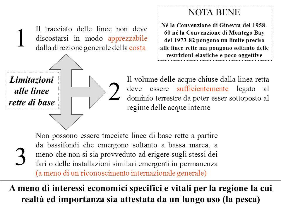 Limitazioni alle linee rette di base NOTA BENE Né la Convenzione di Ginevra del 1958- 60 né la Convenzione di Montego Bay del 1973-82 pongono un limit