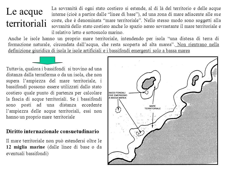 Le due coste si fronteggiano e la distanza fra le due coste in alcuni punti è minore delle 12 miglia Le due coste sono adiacenti Principio consuetudinario della linea mediana : nessuno dei due Stati può estendere il suo mare territoriale al di là della linea mediana, salvo contrario accordo.