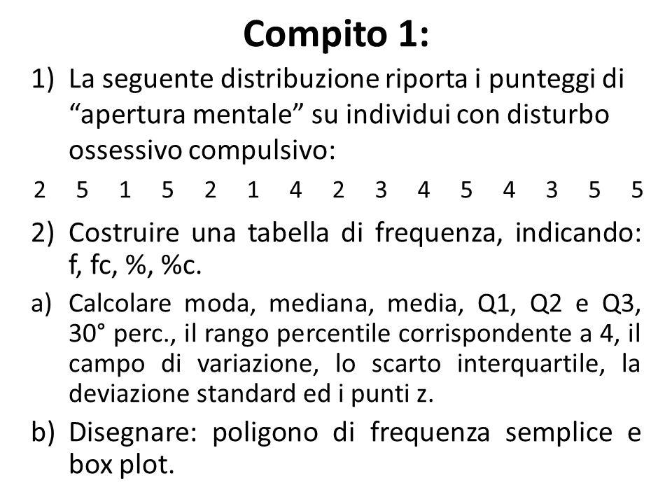 """Compito 1: 1)La seguente distribuzione riporta i punteggi di """"apertura mentale"""" su individui con disturbo ossessivo compulsivo: 2)Costruire una tabell"""