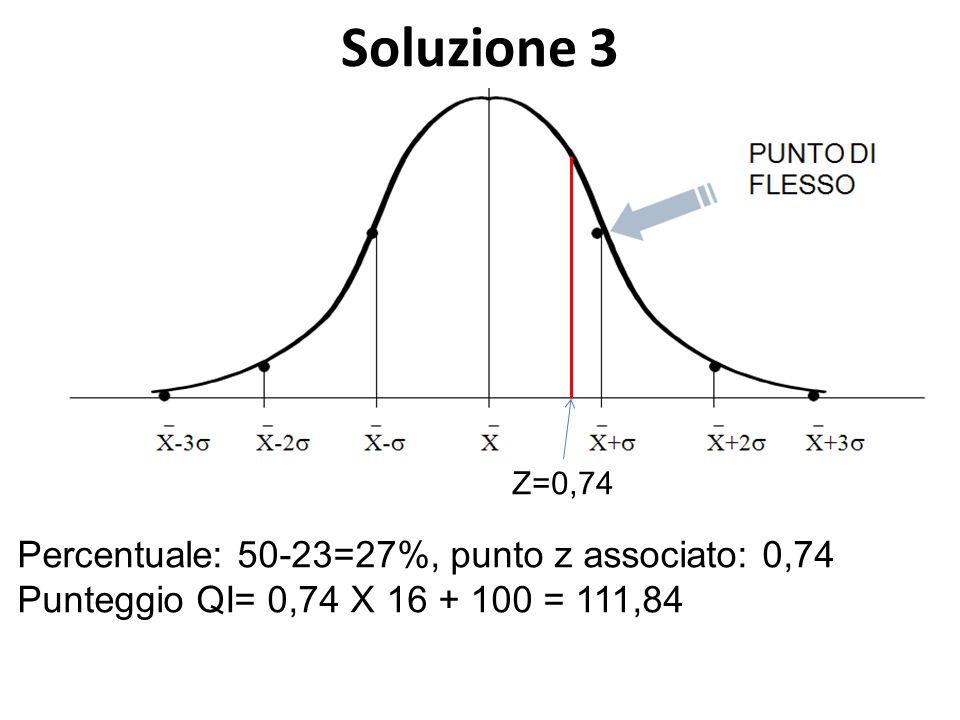 Soluzione 3 Percentuale: 50-23=27%, punto z associato: 0,74 Punteggio QI= 0,74 X 16 + 100 = 111,84 Z=0,74