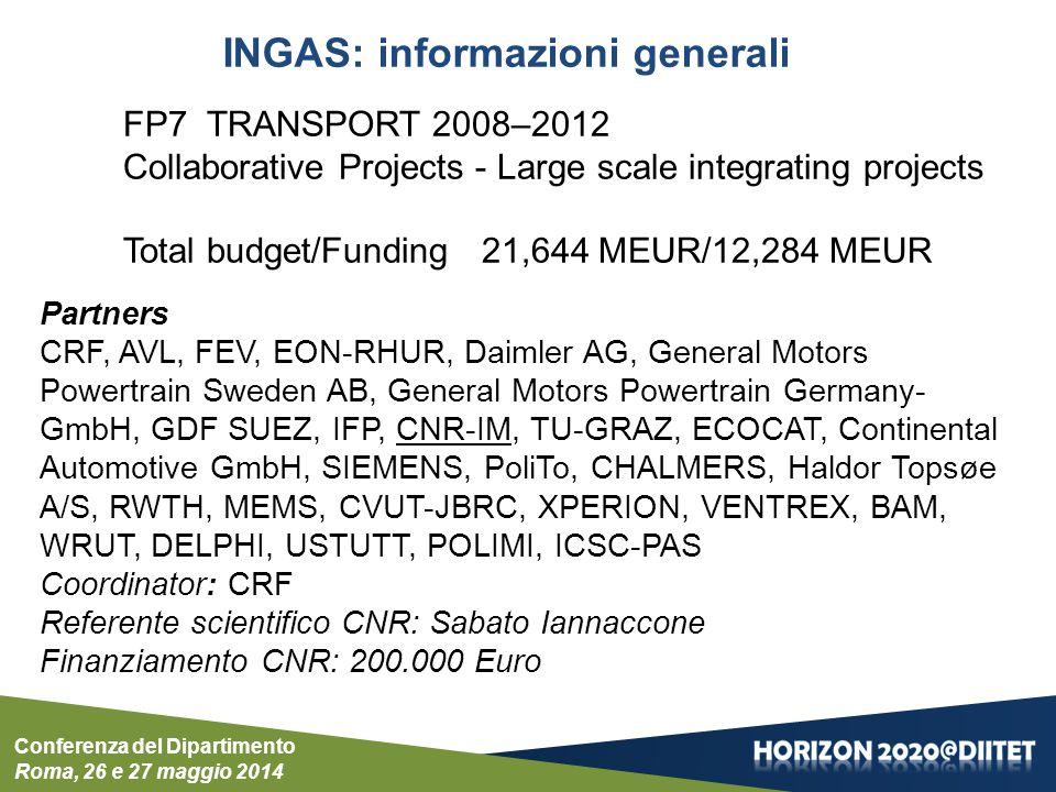 SCHEMA GENERALE DI INGAS Il gas naturale per la mobilità a basso impatto ambientale Conferenza del Dipartimento Roma, 26 e 27 maggio 2014