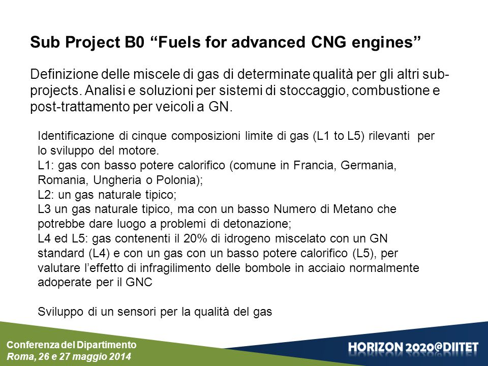 Conferenza del Dipartimento Roma, 26 e 27 maggio 2014 Sub Project B0 Fuels for advanced CNG engines Definizione delle miscele di gas di determinate qualità per gli altri sub- projects.
