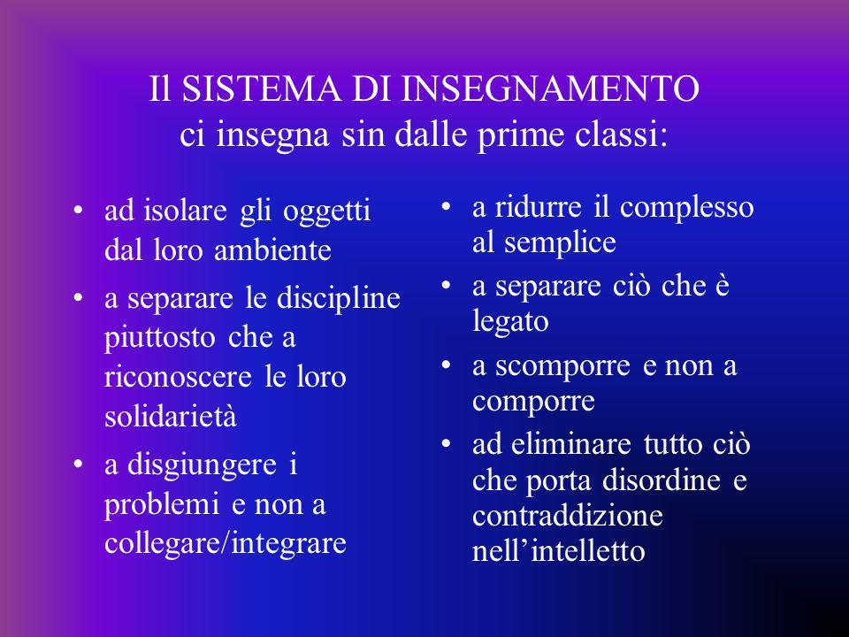 Il SISTEMA DI INSEGNAMENTO ci insegna sin dalle prime classi: ad isolare gli oggetti dal loro ambiente a separare le discipline piuttosto che a ricono