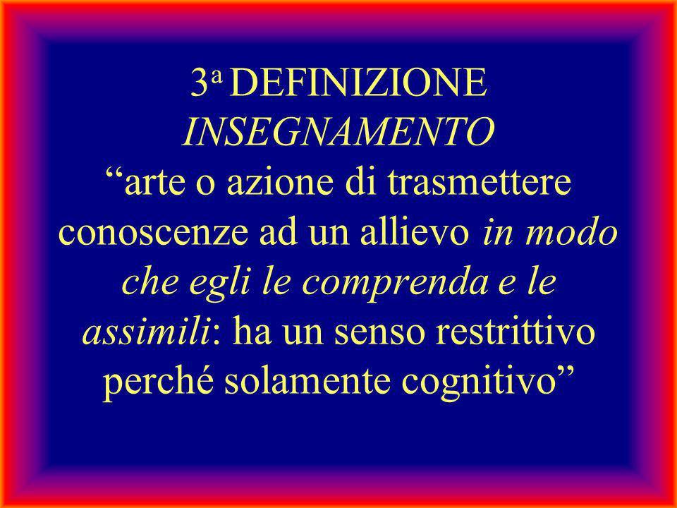 """3 a DEFINIZIONE INSEGNAMENTO """"arte o azione di trasmettere conoscenze ad un allievo in modo che egli le comprenda e le assimili: ha un senso restritti"""
