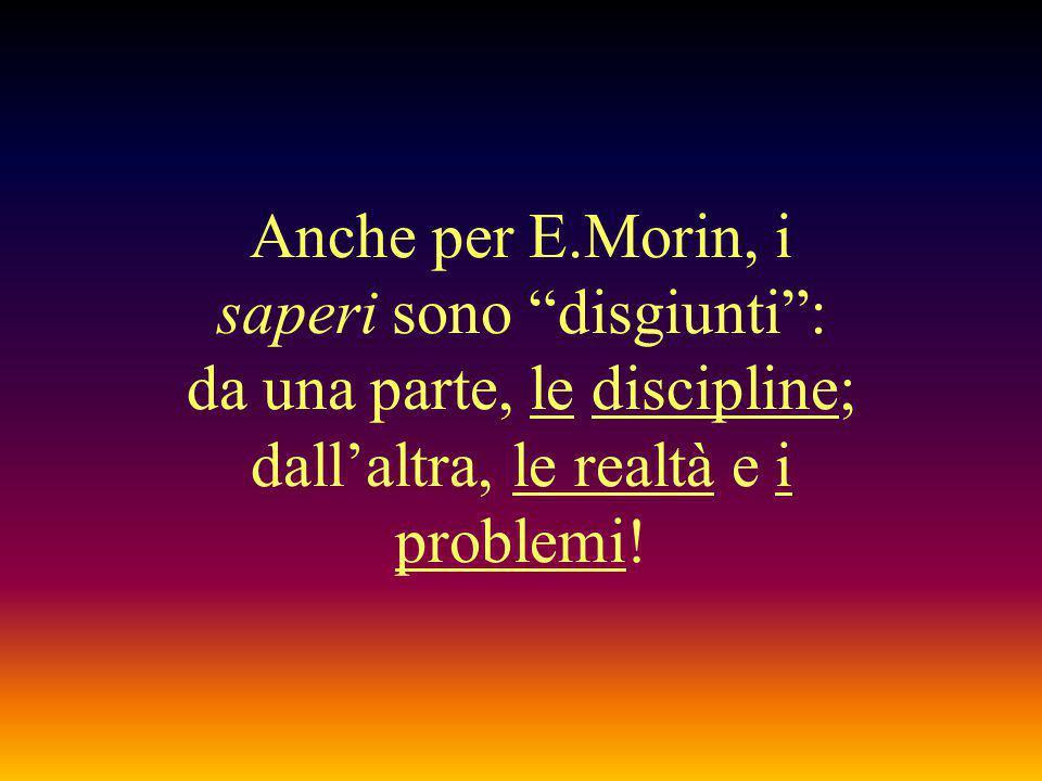 """Anche per E.Morin, i saperi sono """"disgiunti"""": da una parte, le discipline; dall'altra, le realtà e i problemi!"""
