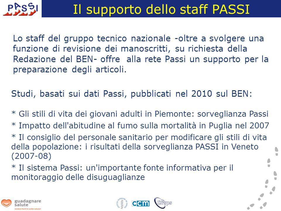 Lo staff del gruppo tecnico nazionale -oltre a svolgere una funzione di revisione dei manoscritti, su richiesta della Redazione del BEN- offre alla rete Passi un supporto per la preparazione degli articoli.