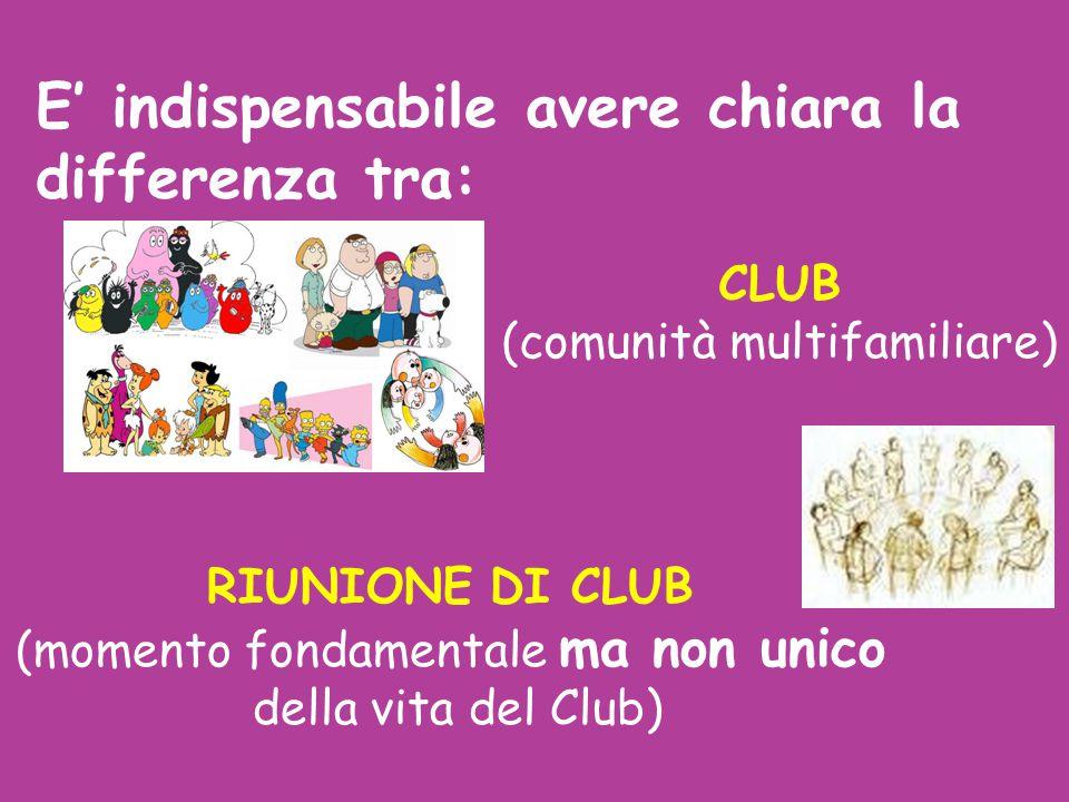 CLUB (comunità multifamiliare)  RIUNIONE DI CLUB (momento fondamentale ma non unico della vita del Club)  E' indispensabile avere chiara la differen