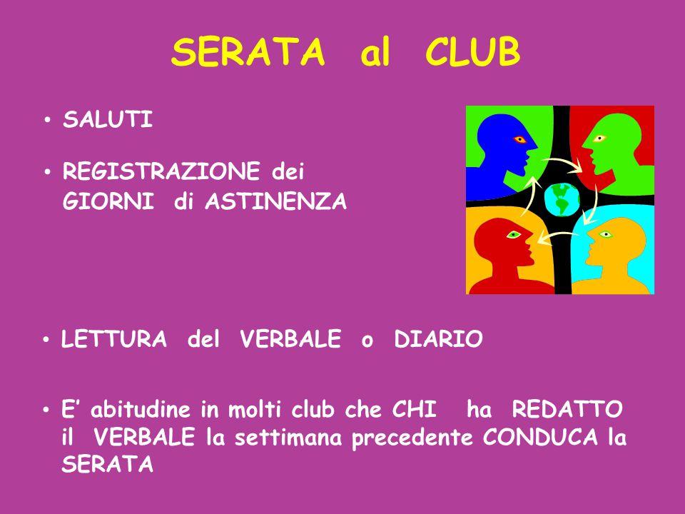 SALUTI REGISTRAZIONE dei GIORNI di ASTINENZA SERATA al CLUB LETTURA del VERBALE o DIARIO E' abitudine in molti club che CHI ha REDATTO il VERBALE la s