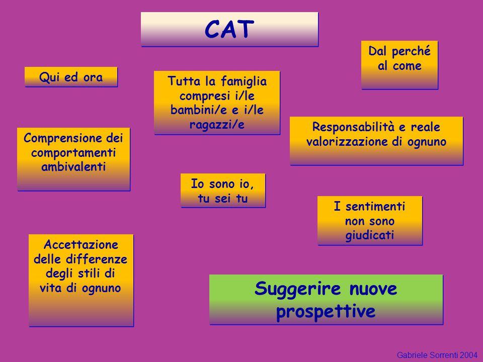 CAT I sentimenti non sono giudicati Accettazione delle differenze degli stili di vita di ognuno Comprensione dei comportamenti ambivalenti Qui ed ora
