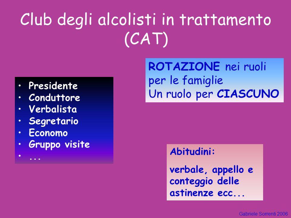 Club degli alcolisti in trattamento (CAT)  Presidente Conduttore Verbalista Segretario Economo Gruppo visite... Gabriele Sorrenti 2006 ROTAZIONE nei