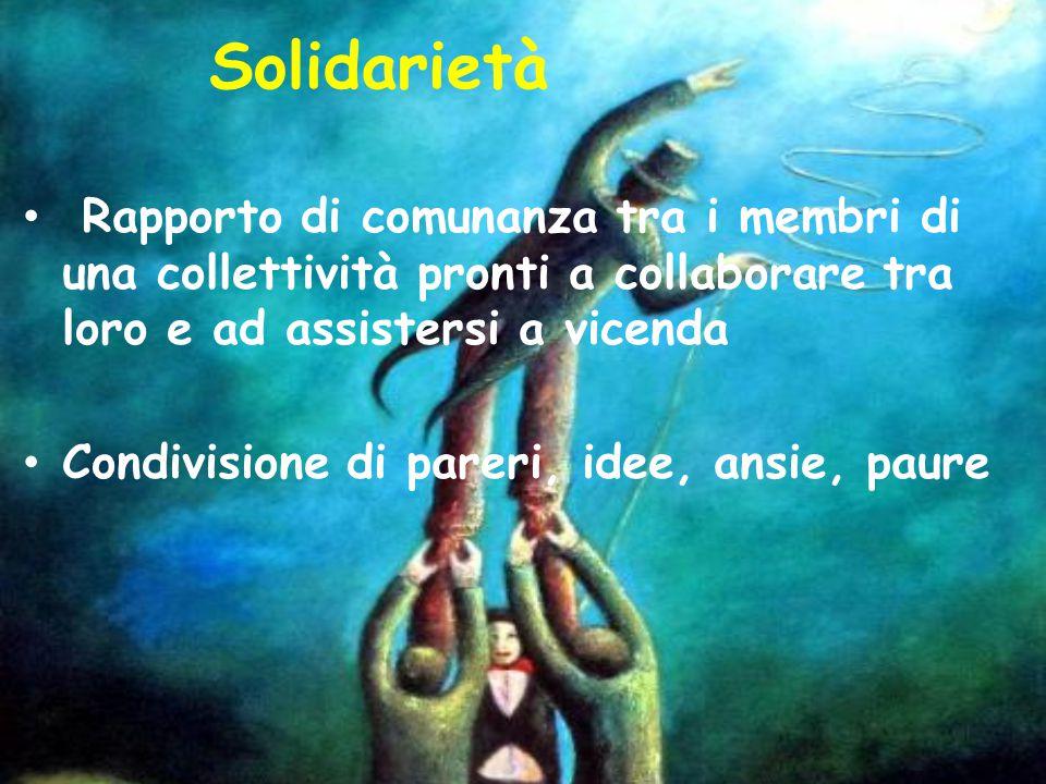 Solidarietà Rapporto di comunanza tra i membri di una collettività pronti a collaborare tra loro e ad assistersi a vicenda Condivisione di pareri, ide