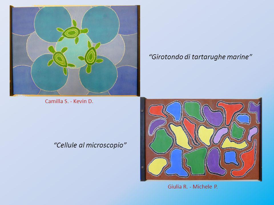 """""""Girotondo di tartarughe marine"""" """"Cellule al microscopio"""" Camilla S. - Kevin D. Giulia R. - Michele P."""