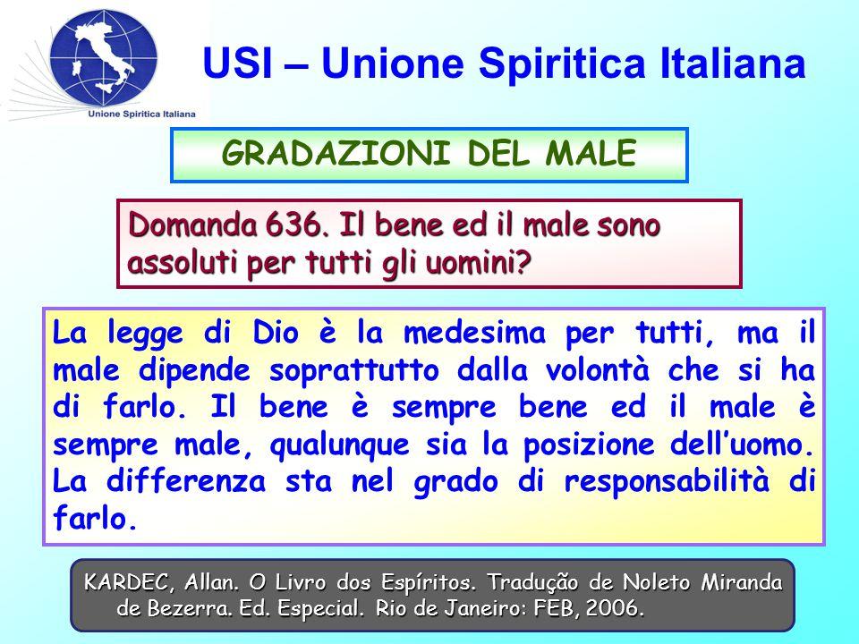 USI – Unione Spiritica Italiana GRADAZIONI DEL MALE La legge di Dio è la medesima per tutti, ma il male dipende soprattutto dalla volontà che si ha di farlo.