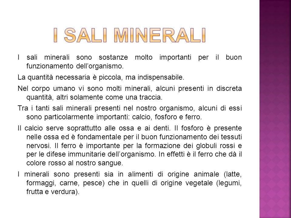 I sali minerali sono sostanze molto importanti per il buon funzionamento dell'organismo. La quantità necessaria è piccola, ma indispensabile. Nel corp
