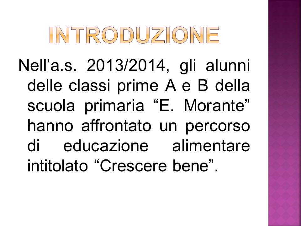 """Nell'a.s. 2013/2014, gli alunni delle classi prime A e B della scuola primaria """"E. Morante"""" hanno affrontato un percorso di educazione alimentare inti"""