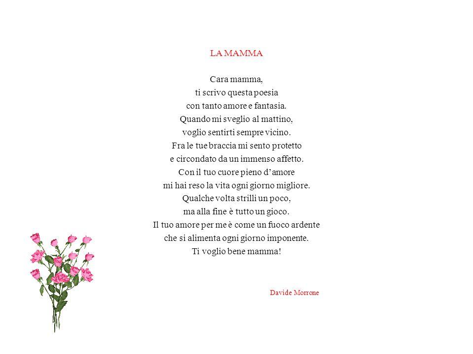 LA MAMMA Cara mamma, ti scrivo questa poesia con tanto amore e fantasia.