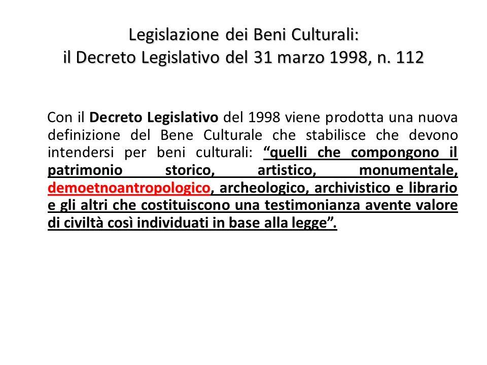 Legislazione dei Beni Culturali: il Decreto Legislativo del 31 marzo 1998, n.