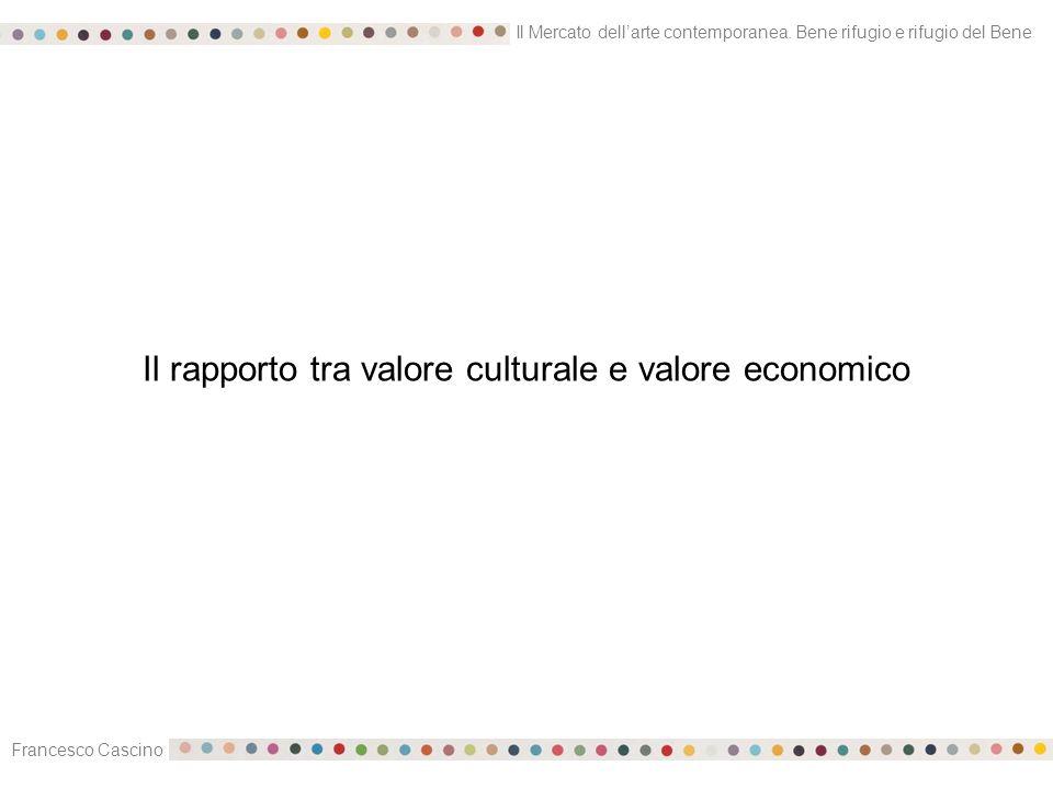 Il Mercato dell'arte contemporanea. Bene rifugio e rifugio del Bene Francesco Cascino Il rapporto tra valore culturale e valore economico