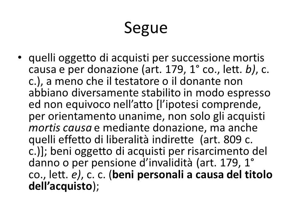 Segue quelli oggetto di acquisti per successione mortis causa e per donazione (art. 179, 1° co., lett. b), c. c.), a meno che il testatore o il donant