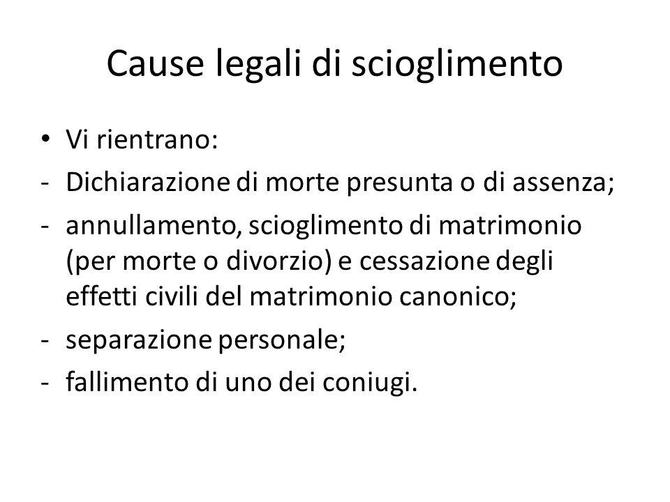Cause legali di scioglimento Vi rientrano: -Dichiarazione di morte presunta o di assenza; -annullamento, scioglimento di matrimonio (per morte o divor