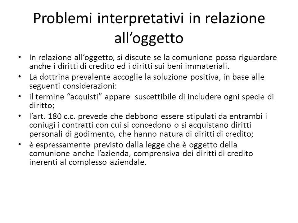 Problemi interpretativi in relazione all'oggetto In relazione all'oggetto, si discute se la comunione possa riguardare anche i diritti di credito ed i