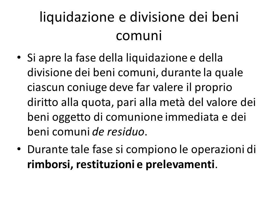 liquidazione e divisione dei beni comuni Si apre la fase della liquidazione e della divisione dei beni comuni, durante la quale ciascun coniuge deve f